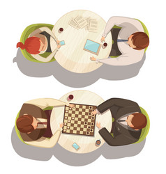 people over cup of coffee at round tables vector image vector image