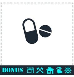 Pills icon flat vector