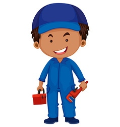Plumber holding toolbox and wrench vector image vector image