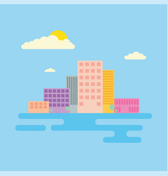 set of urban landscape and city life vector image vector image