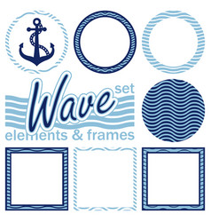 set of wave elements and frames vector image vector image