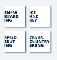 set winter games vector image