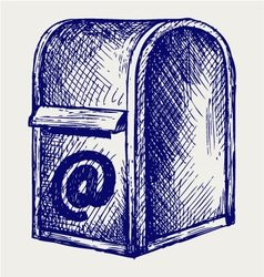 Standard mailbox with mail vector image