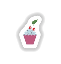 Stylish paper sticker cupcake with cream and vector
