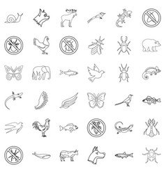 swallow icons set outline style vector image