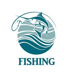 swordfish fishing emblem vector image vector image