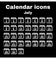 The calendar icon July symbol Flat vector image vector image