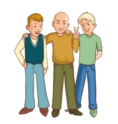 Three cartoon friends supporting each other vector image vector image