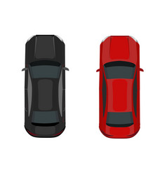 Two cars black and red view from above vector