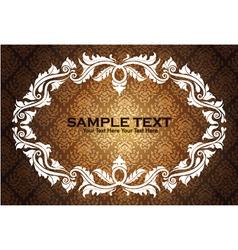 vintage floral frame with damask background vector image vector image
