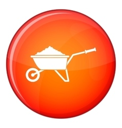 Wheelbarrow loaded with soil icon flat style vector