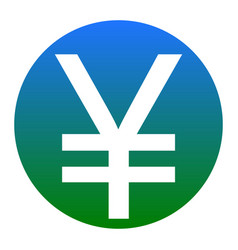 Yen sign white icon in bluish circle on vector