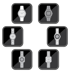 Set of black icons of a female watch vector image