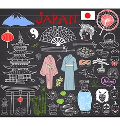 Japan doodles set hand drawn sketch vector