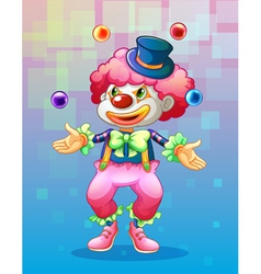 A clown with four colorful balls vector