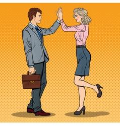 Pop art businessman giving high five to partner vector