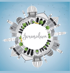 jerusalem skyline with gray buildings blue sky vector image