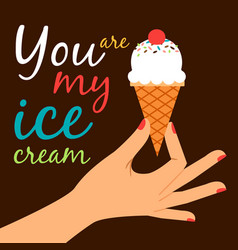 Icecream in hand love poster concept vector