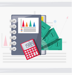 Documents calculator and bill investment concept vector