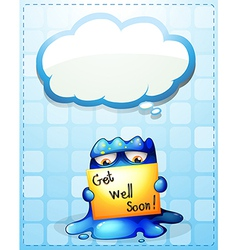 A monster holding a get-well-soon card with an vector