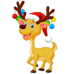 Cute deer cartoon with red hat and christmas ball vector