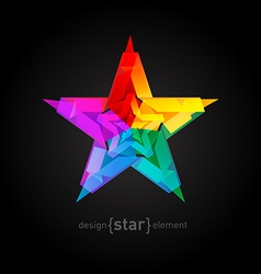 Abstract star overlying star shapes on black vector