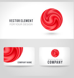 Business card template set abstract red circle vector