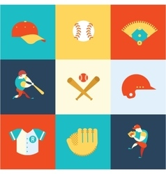 baseball flat icons vector image