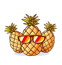 Colorful yellow hipster pineapples with s vector