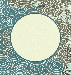 Waves hand drawn pattern curled frame circle vector