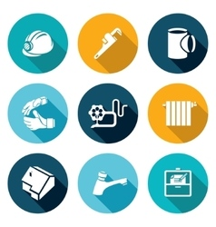 Work plumber at home icons set vector