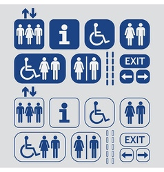Blue man and woman public access icons set vector