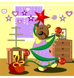 Bear dresses fir tree 21 vector