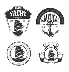 Vintage nautical logo labels and badges vector