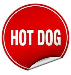 hot dog round red sticker isolated on white vector image