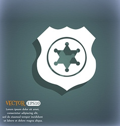 Sheriff star icon on the blue-green abstract vector