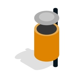 Outdoor orange bin icon isometric 3d vector