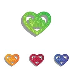 Family sign in heart shape colorfull vector