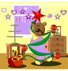 Bear dresses fir tree 21 vector image