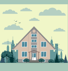 City landscape with townhouse and trees vector