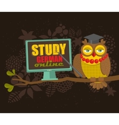 Clever owl on the tree with computer vector image vector image