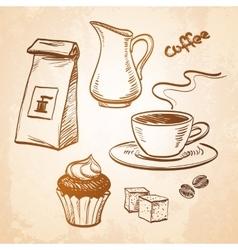 Coffee sketch set vector image vector image