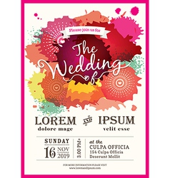 Color splash wedding party invitation card vector