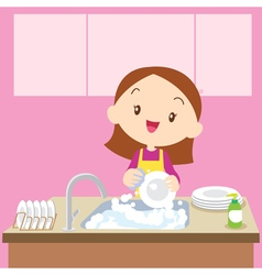 Cute girl dish washing vector