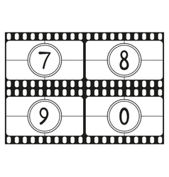 Film countdown numbers part 3 vector image