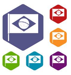 flag of brazil icons set hexagon vector image vector image