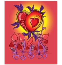 Heart flies on love wings vector image