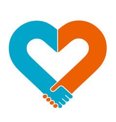 heart shape handshake vector image