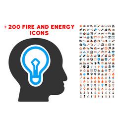 idea bulb icon with bonus power collection vector image vector image