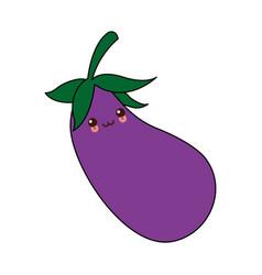 Kawaii eggplant vegetable nutrition food diet vector